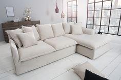 A HEAVEN kanapén a pihenés maga a mennyország. Egyszerű, letisztult formavilágának és szürke színének köszönhetően szinte bármely enteriőrbe beilleszthető, legyen az modern vagy klasszikus. Sok puha párnája biztosítja a kényelmet a rel Beige Couch, Linen Couch, Corner Sofa Covers, Couch Design, Hygge Home, Decorative Cushions, Angles, Home Furniture, Living Room Decor