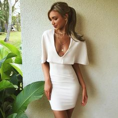 2017 Spring and Summer Solid White Deep V-neck Sexy Nightclub Dress Fashion Cloak Collar Hip Package Slim Dress Free Shipping