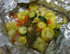 Grilled Veggie Packets. I made these last night but I used fresh zuchinni, fresh squash, fresh cherry tomatoes and carrots.  They were so good!
