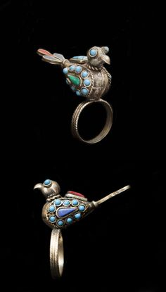 Afghan Silvered Metal Bird Ring, Inlaid With Turquoise, Lapis Lazuli, And Red Coral Cabochons
