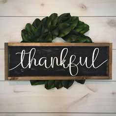 Framed Thankful Wood Sign | Farmhouse Decor | Thankful | Distressed Wood Sign | Rustic Thankful Sign | Wooden Sign | Farmhouse Style | Frame Framed Thankful Wood Sign Wood color is black Font paint color is white Framing stain is our special walnut If youd like a different