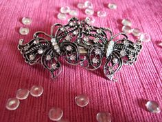 Vintage double butterfly crystal barrette / Bridal barrette / French clip / Wedding barrette / Bridal Hair clip