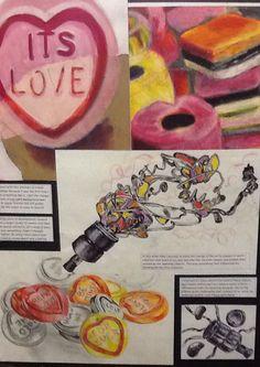 Lucy development A Level Art Sketchbook, Sketchbook Layout, Textiles Sketchbook, Sketchbook Pages, Sketchbook Inspiration, Sweets Art, Close Up Art, Candy Art, Art Courses