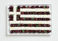 Greece's flag made from Kalamata olives and feta cheese.