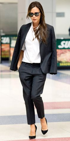 Victoria Beckham arrived at JFK looking incredibly posh (as always) in dark suit separates with a crisp white button-down and black Casadei pumps. - Look of the Day - September 2014 - Victoria Beckham from Business Fashion, Business Mode, Business Outfits, Business Attire, Business Formal, Business Casual, Fashion Mode, Office Fashion, Work Fashion