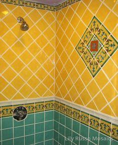 Mexican Talavera Tile Shower Rustic Bathrooms, Dream Bathrooms, Tile Bathrooms, Southwestern Home Decor, Southwest Style, Spanish Style Bathrooms, Mission Style Homes, Home Wine Cellars, Bathtub Tile