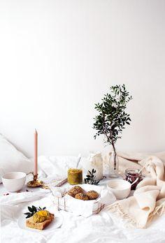 the perfect breakfast in bed - recipes for almond yogurt, granola, lemon pancake, orange blossom jam, hemp bread rolls and delicious green juice!