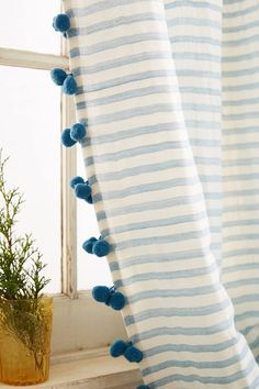 Extraordinary Home Curtains For Interior Design 25 Pom Pom Curtains, No Sew Curtains, Home Curtains, Curtains With Blinds, Drapery Panels, Living Room Decor Curtains, Nursery Curtains, Living Room Windows, Chic Living Room
