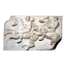 This block was placed near the corner of the west frieze of the Parthenon, where it turned onto the north. The horsemen have been moving at some speed, but are now reining back so as not to appear to ride off the edge of the frieze. The horseman in front twists around to look back at his companion, and raises a hand (now missing) to his head. This gesture, repeated elsewhere in the frieze, is perhaps a signal. Although mounted riders can be seen here, much of the west frieze features…