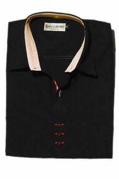Camisa Jean Cartier manga larga, ENTALLADA,combinada. - Cod 0005