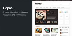Repro - Premium WordPress News / Magazine Theme   http://themeforest.net/item/repro-premium-wordpress-news-magazine-theme/138755?ref=damiamio              Repro is the Premium WordPress News / Magazine theme. Jam packed with custom options, custom widgets and a dollop of good looks.  Repro is suitable for content producers at all levels, personal bloggers, newspapers, online magazines, community blogs… you get the idea. Repro looks great out of the box but also acts as the perfect black…