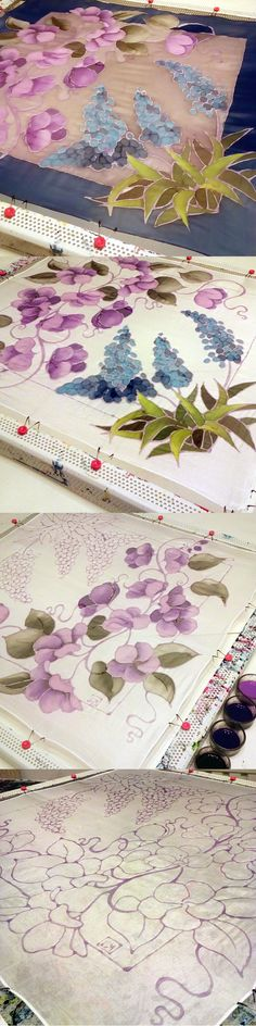Painting the Muscari scarf step by step! Enjoy! By #minkulul