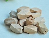 40pcs 17x10mm Oblong Unfinished Natural Wood Bead 14 Hedron Geometric Figure Solid Faceted Cube Octagonal - No Varnish & No Lacquer MT208-2