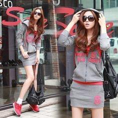 hot women jacket hoodie zip up mini dress skirt pattern printed great