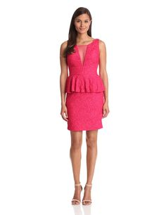 Hailey by Adrianna Papell Women's Dresses Illusion Lace Peplum - $119