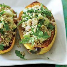 Delicata squash artfully stuffed with a fluffy, herbed quinoa pilaf are a lovely #glutenfree main course. Recipe from Food & Wine, found at www.edamam.com