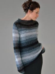Dark - ladies funnel neck striped sweater from Still. Designed by Kim Hargreaves using Kidsilk Haze (mohair and silk) yarn, this knitting pattern is suitable for the knitter with a little experience.
