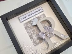 Soft pastel grey hand painted initial on a delicate floral background. Birthday Surprise Husband, 21st Birthday Gifts, Birthday Box, Personalized Birthday Gifts, Birthday Nails, Birthday Ideas, Surprise Box, Painted Initials, Wooden Initials