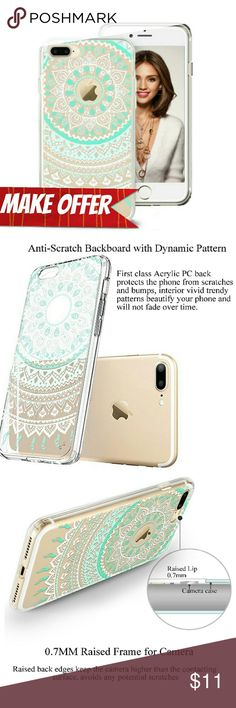 iPhone 7 Plus Mandala Mint Green Case Overall Hybrid Protection: Premium hard Acrylic backboard & flexible TPU frame provide double insurance, surviving your phone the accidental bumps or shocks, also make it easy to install and remove without scratching the phone.  Dynamic Pattern Appearance: Interior vivid trendy patterns beautify your phone and will not fade over time,also provides better grip preventing accidental drops.  *BUNDLE WITH OTHER ITEMS & MAKE A OFFER ON BUNDLE!* Accessories…