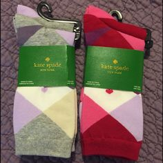 Kate Spade Socks- 2 sets of 2 pairs Grey and purple argyle set. Pink and red argyle set. Each set comes with a matching solid color sock. These are super cute for the fall or as a gift this holiday. no low ball offers, PayPal or trades accepted kate spade Accessories Hosiery & Socks
