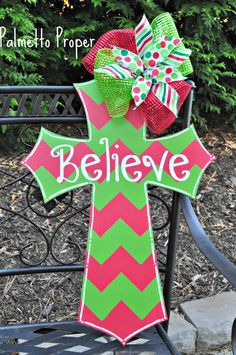 Christmas Cross Wooden Door Hanger by PalmettoProperDesign on Etsy
