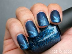 Uñas naturales decoradas azul - Natural nails in blue Get Nails, Fancy Nails, Love Nails, How To Do Nails, Pretty Nails, Hair And Nails, Sparkle Nails, Matte Nails, Glittery Nails