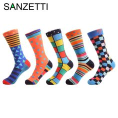 SANZETTI 5 pair/lot New Colorful Men's Combed Cotton Trendy Wedding Socks Funny Casual Crew Skateboard Socks Novelty Gifts  Price: $ 0.00   #QUALITY #AWESOMEPRODUCTS #GETSOCKED