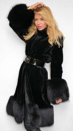 black sheared mink & fox fur coat