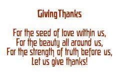 November ~ Thanks & Gratitude ~ Giving Thanks Verse