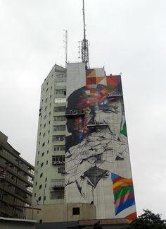 Mural do artista Eduardo Kobra em homenagem ao arquiteto Oscar Niemeyer.