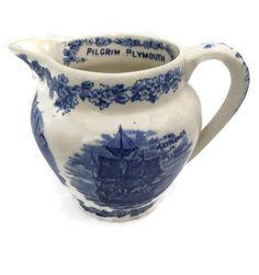 Antique Staffordshire Creamer - Plymouth Rock, Pilgrims - Massachusetts Souvenir Pitcher #etsymnt #gifts