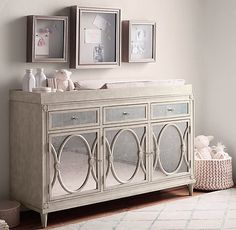 élodie Wide Cabinet with the Bellinia vintage grey conversion crib