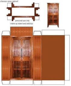 Chinese cane cabinet By FATNA in tutorials Cardboard Furniture, Cardboard Crafts, Doll Furniture, Dollhouse Furniture, Paper Crafts, Diy Crafts, Haunted Dollhouse, Diy Dollhouse, Dollhouse Miniatures