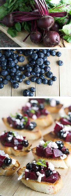 Beet and Blueberry Bruschetta | girlgonegourmet.com #sponsored One Bite Appetizers, Healthy Appetizers, Appetizers For Party, Weight Watchers Appetizers, First Bite, Game Day Food, Beets, Bruschetta, Brunch Recipes