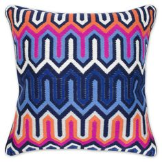 Jonathan Adler Pink And Blue Bargello Chevron Pillow in All Pillows & Throws