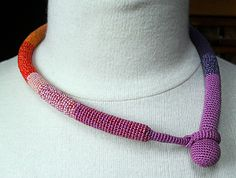 crochet - statement necklace - love the clever closure - part of design at front