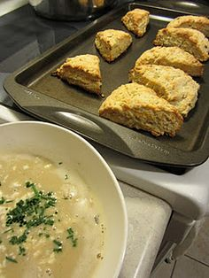 savoury onion scones and roasted garlic soup