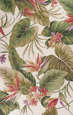 Truly wonderful colors and island themed designs collide to create a fun trend-worthy accent in this new Ivory Tropical Paradise Rug!