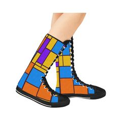 Shapes in retro colors Canvas Long Boots For Women Model 7013H
