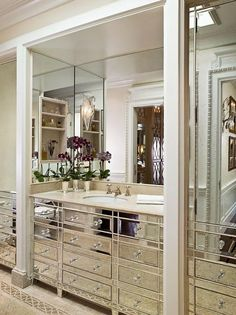 luxury silver bathroom design renovated san francisco homea mirrored vanity in the dressing area of the master bath is pure hollywood glamour