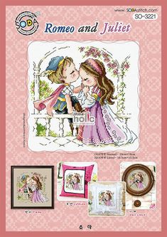 authentic Korean cross stitch design chart color printed on coated paper SO-3184 Just You and I/… SODA Cross Stitch Pattern leaflet