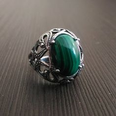 6 SIZE Ring malachite Green Natural stone Silver ring Carved frame Russian Free shipping