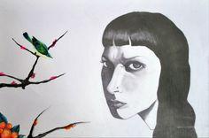 Acuarela y grafito sobre papel, de Belén Vargas.    Autorretrato / Clase de Arte
