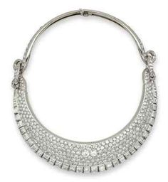 diamond, platinum and white gold  collar by Suzanne Belperron. Sold at auction in 2010 for $195,000.