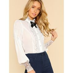 SheIn(sheinside) Button Up Lace  Ruffled Blouse IVORY ($19) ❤ liked on Polyvore featuring tops, blouses, white, white button down shirt, button down blouse, ruffle sleeve blouse, button-down shirts and long-sleeve shirt