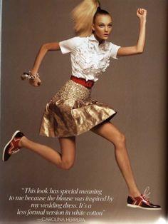 American Vogue, November 2006. Caroline Trentini jumps on as many as 16 photographs.