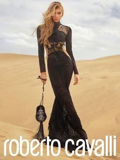 Stella Maxwell wears a black gown in Roberto Cavalli's spring 2017 campaign