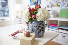 FLORAL TIP: The round shape of the flowers reflects the round shape of the container, making this a perfectly styled arrangement. | 6 Vases to Style your Florals | eBay