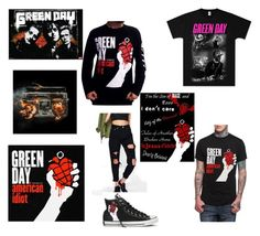 """Don't wanna be an American Idiot"" by emobandgeekforlife ❤ liked on Polyvore featuring Boohoo, Converse, alternative and greenday"