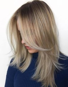 Sytraight Layered Hairstyle For Fine Hair Layered Haircuts Shoulder Length, Shoulder Length Layered Hair, Medium Hair Cuts, Medium Hair Styles, Long Hair Styles, Dishwater Blonde, Haircuts For Long Hair, Medium Blonde Haircuts, Trendy Haircuts